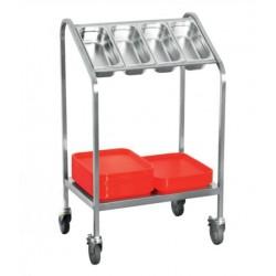 vozík na tácy a příbory