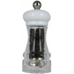 HIP HOP mlýnek na pepř transparentní bílý, 11cm