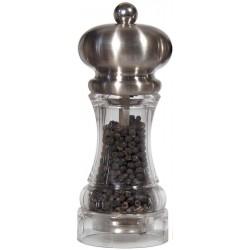 POLKA mlýnek na pepř, nerez mat a transparent, 14 cm