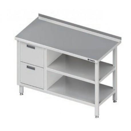 stůl s 2 zásuvkami a policemi ST 028