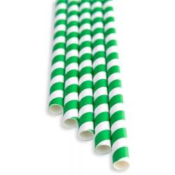 Brčka - zelená papírová 100ks, délka 21 cm