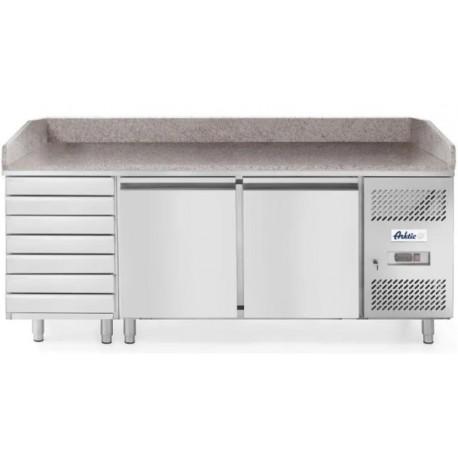 Chladící pizza stůl 2-dveřový s 7 nechlazenými šuplíky a mramorovou deskou