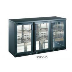 prosklená barová chladící skříňka na nápoje 3 dveřová